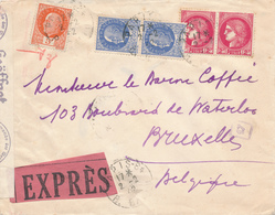 102/27 - Guerre 40/45 Pétain - Lettre Expres PARIS 1942 Vers BRUXELLES - Bande Et Cachets De Censure Allemande - Guerre De 1939-45