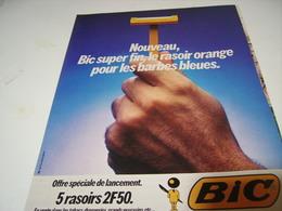 ANCIENNE PUBLICITE RASOIR ORANGE DE BIC 1979 - Autres