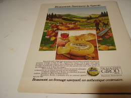 ANCIENNE PUBLICITE FROMAGE BEAUMONT DE GIROD 1979 - Posters
