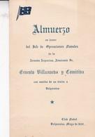 ALMUERZO EN HONOR JEFE DE OP NAVALES ARMADA ARGENTINA Almte ERNESTO VILLANUVA. VALPARAISO 1952 SIZE 10x17 CM- BLEUP - Menus