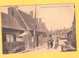 """Carte Postale Noir Et Blanc """" Rue De L ' Eglise """" à OUDEZEELE - Dunkerque"""