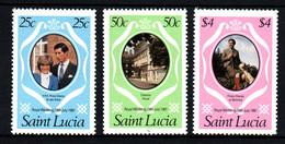 St LUCIA Sainte Lucie  Mariage Prince Charles Lady Diana  Neufs Sans Charnière N° Yv 530 / 532 - St.Lucie (1979-...)