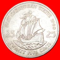 # SHIP Of Sir Francis Drake (1542-1596): EAST CARIBBEAN STATES ★ 25 CENTS 1989! LOW START ★ NO RESERVE! - East Caribbean States