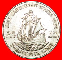 # SHIP Of Sir Francis Drake (1542-1596): EAST CARIBBEAN STATES ★ 25 CENTS 1994! LOW START ★ NO RESERVE! - Caraïbes Orientales (Etats Des)