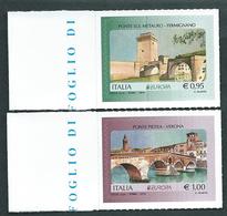 Italia 2018; EUROPA 2018: Ponte Sul Metauro Di Fermignano + Ponte Pietra Di Verona. Serie Completa Di Bordo Sinistro. - 6. 1946-.. Repubblica