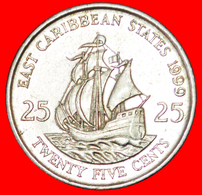 # SHIP Of Sir Francis Drake (1542-1596): EAST CARIBBEAN STATES ★ 25 CENTS 1999! LOW START ★ NO RESERVE! - Caraibi Orientali (Stati Dei)
