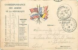 D-18-1386 : CARTE FRANCHISE MILITAIRE  CARTE DRAPEAU. CACHET TRESOR ET POSTES 191 - Marcofilia (sobres)