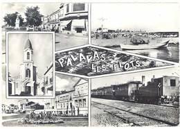 Cpsm Palavas Les Flots - Multivues, Petit Train, église, Plage .. - Palavas Les Flots