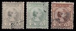 Suriname 1892 Wilhelmina 15, 20, 30ct.  NVPH 25,26,28 -gestempeld/cancelled/used - Suriname ... - 1975