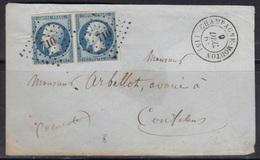 Champagne-Mouton (Charente) : Paire N°14 Oblitérée Pc710 Sur Petite Enveloppe (manque Rabat Supérieur) - 1849-1876: Période Classique