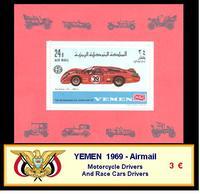 1969 - YEMEN - Airmail  Motorcycle Drivers And Race Cars Drivers - Yemen