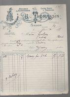 Salon De Provence (13 Bouches Du Rhône) Facture THOMASSIN  Huiles Et Savons 1905 (PPP14512) - Francia