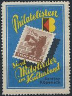 DDR Werbemarke Philatelisten Sind Mitglieder Im Kulturbund Sektion Köpenick - Alte Papiere