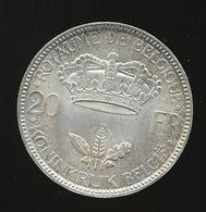 LEOPOLD III 20 FR ARGENT 1935  MOOIE STAAT  - 2 SCANS - 1934-1945: Leopold III