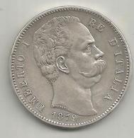 Italia, Regno, Umberto I, 5 L. Ag. Scudo 1879. - 1861-1946 : Regno