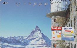 RARE Télécarte Japon / 110-011 - SUISSE Montagne MATTERHORN **BAND AID * Mountain Japan Phonecard Switzerland - Site 174 - Montagnes