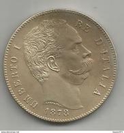 Italia, Regno, Umberto I, 5 L. Ag. Scudo 1878. Riconio, Restrike. - 1861-1946 : Regno