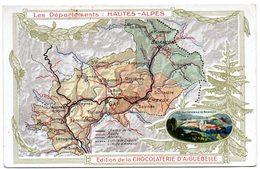 """Chromo """"Chocolaterie D'Aiguebelle"""". Thème: Les Départements: Hautes Alpes, Gap, Briançon, Embrun. - Aiguebelle"""