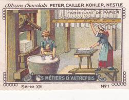 Chromo Publicitaire 4 X 6 Les Métiers D' Autrefois Fabricant De Papier - Nestlé