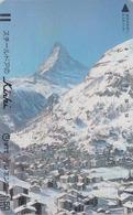 TC Ancienne Japon / 110-011 - SUISSE Montagne MATTERHORN - Mountain Japan Front Bar Phonecard Switzerland - Site 176 - Montagnes