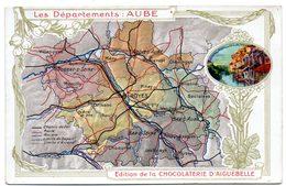 """Chromo """"Chocolaterie D'Aiguebelle"""". Thème: Les Départements: Aube, Troyes, Bar Sur Seine, Bar Sur Aube, Nogent Sur Seine - Aiguebelle"""