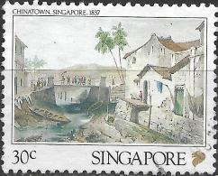 SINGAPORE 1990 Lithographs Of 19th-century Singapore - 30c - Chinatown, 1837 (Barthelemy Lauvergne) FU - Singapour (1959-...)