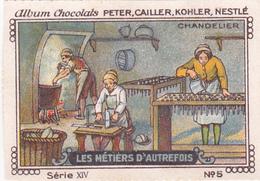 Chromo Publicitaire 4 X 6 Les Métiers D' Autrefois Chandelier Fabrication Bougies Chandelles - Nestlé
