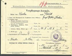 (950936) 1911 Verpflegungs-Ausweis Reise Von Nauchas Nach Rehoboth - Kolonie: Deutsch-Südwestafrika