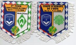 Lot De 2 Fanions Des Girondins De Bordeaux UEFA 2000/2001 - Habillement, Souvenirs & Autres