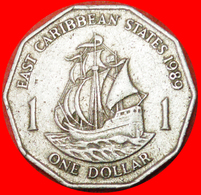 # SHIP Of Sir Francis Drake (1542-1596): EAST CARIBBEAN STATES ★ 1 DOLLAR 1989! LOW START ★ NO RESERVE! - Caribe Oriental (Estados Del)