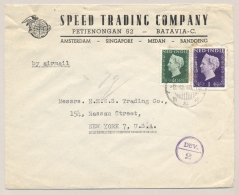 Nederlands Indië - 1948 - 1 Gulden En 10 Cent Type Hartz Op Businesscover Met Deviezencensuur Van Batavia Naar New York - Nederlands-Indië