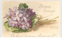 Carte Gaufrée - C. Klein - Birthday Greetings - Bouquet De Violettes - Klein, Catharina