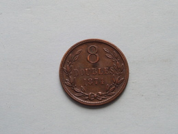 1874 - 8 Doubles / KM 7 ( Uncleaned - For Grade, Please See Photo ) ! - Guernsey