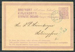 1875 Finland Stationery Postcard Nikolaistad - Helsingfors ANK - 1856-1917 Russian Government