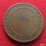 Sri Lanka Ceylon 5 Cents 1870  *V2 - Sri Lanka