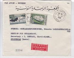 SOBRE ENVELOPE PAR AVION EXPRESS CIRCULEE TUNISIE TO SUEDE CIRCA 1959.- BLEUP - Tunesien (1956-...)
