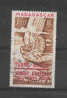 TERRE ADELIE DUMONT D'URVILLE 1940 YVERT TELLIER NR. 1 AERIENNE OBLITERE SURCHARGE ROUGE - Terres Australes Et Antarctiques Françaises (TAAF)