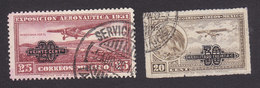 Mexico, Scott #C45, C49, Used, Plane Over Field And Eagle With Plane Surcharged, Issued 1932 - Mexico