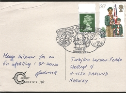 J) 1990 ENGLAND, QUEEN ELIZABETH II, BOYS SCOUTS, INTERNATIONAL PHILATELIC EXHIBITION, CIRCULATED COVER, FROM ENGLAND TO - Covers & Documents