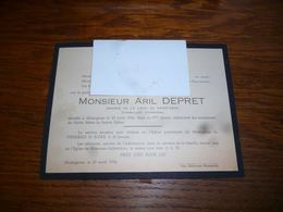 Lettre De Mort Aril Depret Conseiller Communal Momignies 1954 Caigniet - Obituary Notices
