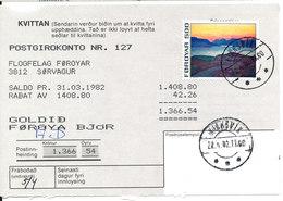 Faroe Islands Money Order Klaksvik 2-4-1982 - Faroe Islands