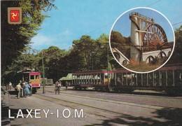 Postcard Laxey I O M Isle Of Man With Train / Tram My Ref  B22826 - Isle Of Man