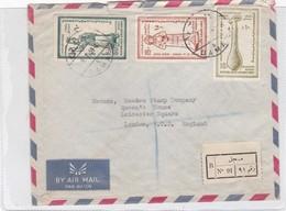 SOBRE ENVELOPE AIRMAIL CIRCULEE REPUBLIQUE ARABE UNIE TO ENGLAND RECOMMANDE CIRCA 1959.- BLEUP - Postzegels