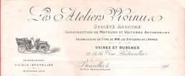 Facture Illustrée  Reçu  - Automobile LES ATELIERS VIVINU Rue Destouvelles à BRUXELLES 24 II 1906 - Cars