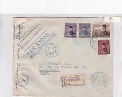 SOBRE ENVELOPE PAR AVION CIRCULEE EGYPTE TO FRANCE. RECOMMANDE AUTRES MARQUES CIRCA 1949.- BLEUP - Egypte