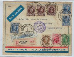 AANGETEKENDE Brief HOUYOUX Met O.a. 3 X Nr. 210 Verzonden Van BRUXELLES Naar BUENOS AIRES (ARGENTINIE) In 1931 ! LOT 227 - 1922-1927 Houyoux
