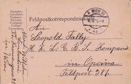 Feldpostkarte - Wien Nach K.k. Landsturm Eisenbahn Sicherungs Komp Opcina FP 381 - 1916 (36074) - Briefe U. Dokumente