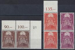1957 Série Europa, 6 Timbres/doublettes, Neuf, Gomme, Sans Charnière: Michel: 572-574 (2scans) - Luxembourg