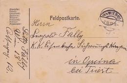 Feldpostkarte - Wien Nach K.k. Landsturm Eisenbahn Sicherungs Komp Opcina Bei Triest - 1917 (36075) - Briefe U. Dokumente