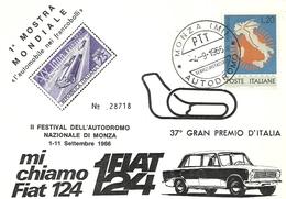 """876 """" 1° MOSTRA MOND.L'AUTO NEI FRANCOBOLLI-2° FESTIVAL AUTODROMO MONZA-37° GRAN PREMIO D'ITALIA"""" CART. ORIG SPED. - Manifestazioni"""
